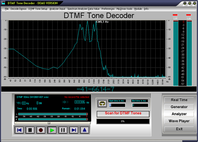 Click to view DTMF Tone Decoder 2019 screenshot